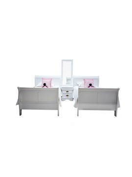 Belair Twin Sleigh Bedroom Suite (White)